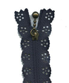 Lace Zip 35cm Length - Navy