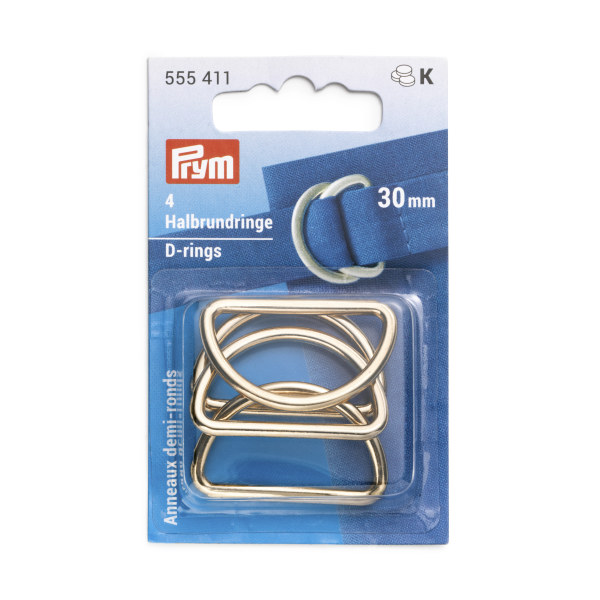 Prym D-Rings 30mm New Gold 4 pc