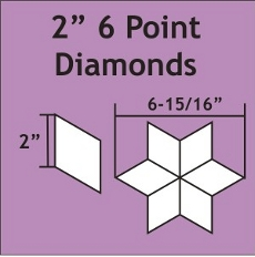 2in 6 Point Diamond Small Pack 75 Pieces - Paper Piecing