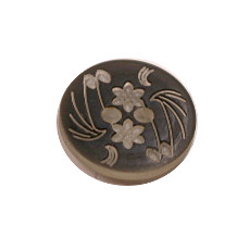 Acrylic Button 2 Hole Engraved 14mm Black