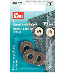 Prym Magnetic Sew-on Buttons 19mm Antique Brass 3pcs