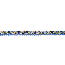 Dark Blue Floral Crochet-edged Poplin Bias Binding Double Fold - 15mm X 25m
