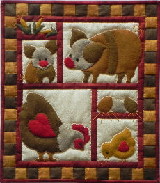 Miniature Quilt Kit - Ham and Eggs 13in X 15in