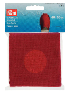 Espadrille Red Base Fabric, 1 Pc, 100% Cotton, 40 X 55cm