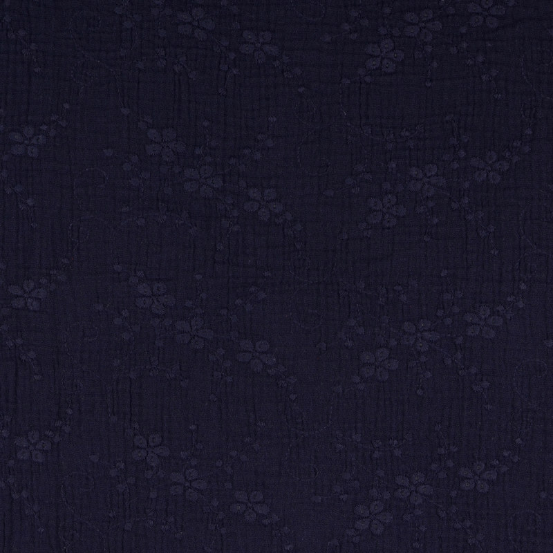 Navy Embroidered Double Gauze from Nikaho by Modelo Fabrics