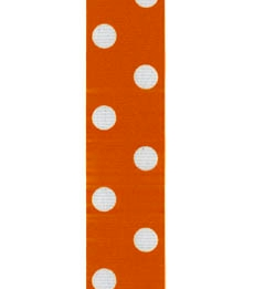 Spot Print Ribbon 7/8in 20mm Orange/white 50yds / 46m