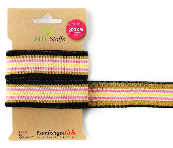 Stripe ME College Black/Yellow Trim from Wanderlust by Hamburger Liebe for Albstoffe