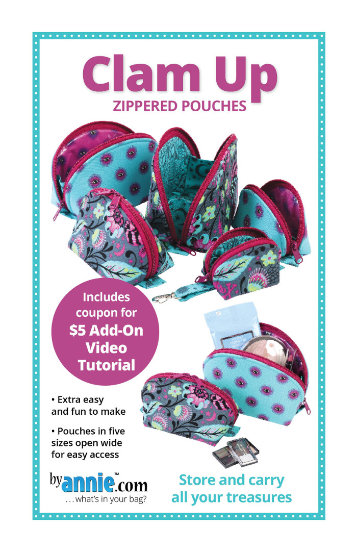 Clam Up Zippered Pouches Pattern By Annies