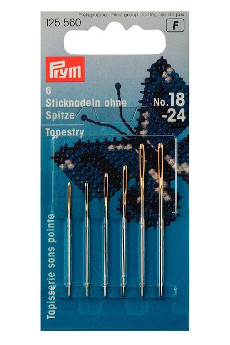 Prym Embroidery Needles Tapestry Blunt Point No.18-24 Assorted With Gold Eye 6pcs