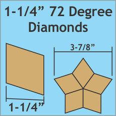 1.25 Inch 72 Degree Diamonds 100 Pieces - Paper Piecing