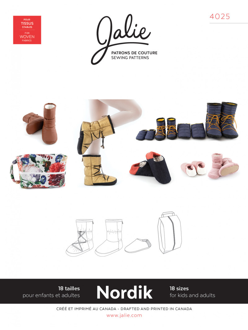 Nordik Quilted booties and slippers Pattern by Jalie
